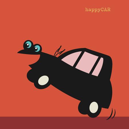 small car: Happy cartoon small car Illustration