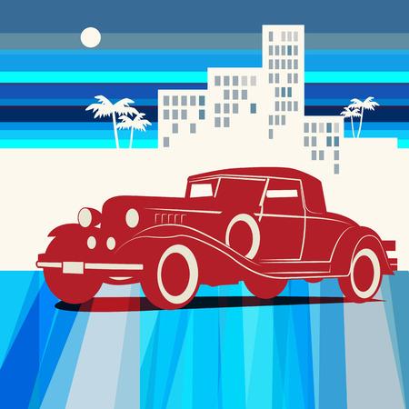 antique car: Vintage retro car background