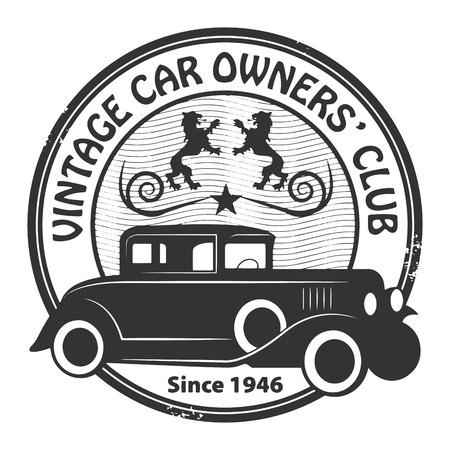 retro truck: Car club or garage grunge stamp
