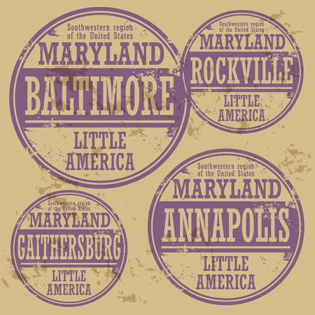 baltimore: Grunge rubber stamp set with names of Maryland cities Illustration