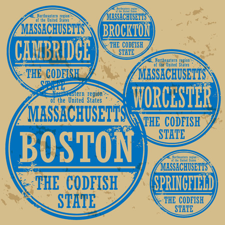 boston: Grunge rubber stamp set with names of Massachusetts cities