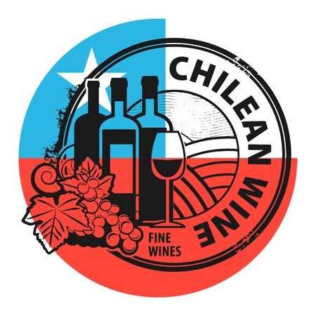 chilean flag: Grunge rubber stamp with words Chilean Wine