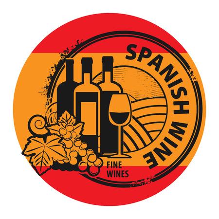 spanish flag: Grunge rubber stamp with words Spanish Wine Illustration