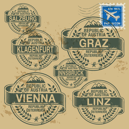 Grunge rubber stamp set with names of Austrian cities Vector