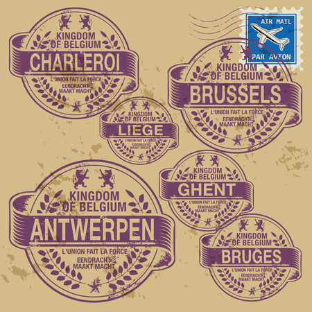 Grunge rubber stamp set with names of Belgium cities Vector