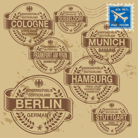 cologne: Grunge rubber stamp set with names of Germany cities