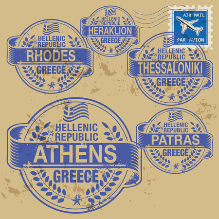 Grunge rubber stamp set with names of Greece cities Vector