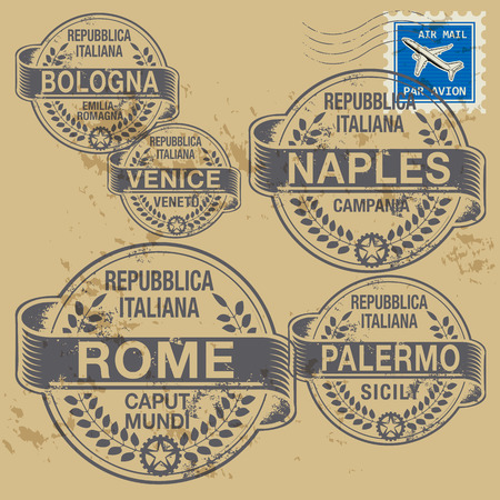 Grunge rubber stamp set with names of Italian cities Vector