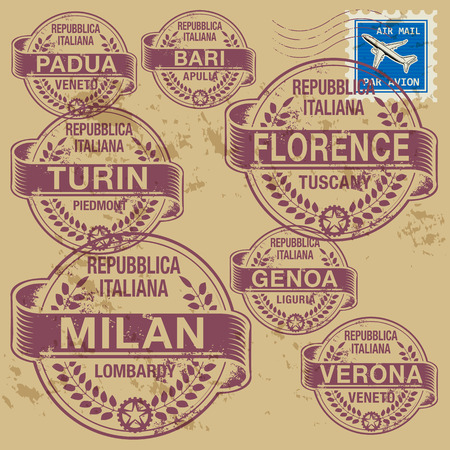 imprinted: Grunge rubber stamp set with names of Italian cities  part two  Illustration