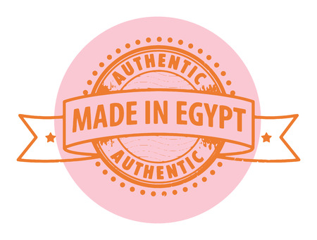 Grunge rubber stamp with the text Authentic, Made in Egypt written inside the stamp Vector