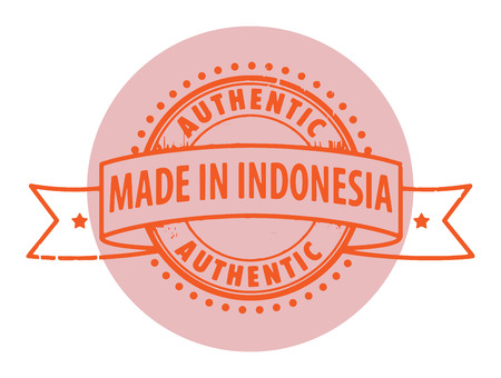 Grunge rubber stamp with the text Authentic, Made in Indonesia written inside the stamp Vector