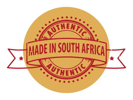 Grunge rubber stamp with the text Authentic, Made in South Africa written inside the stamp Vector