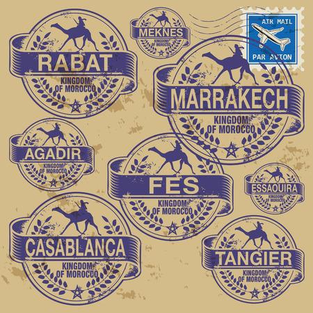 Grunge rubberen stempel set met namen van Marokko steden