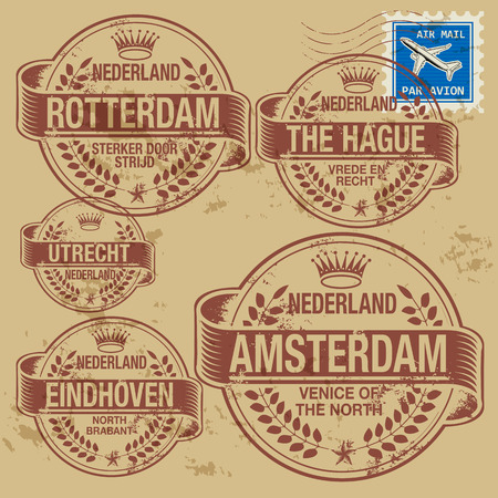 Grunge rubber stamp set with names of Netherlands cities Stock Vector - 24651065