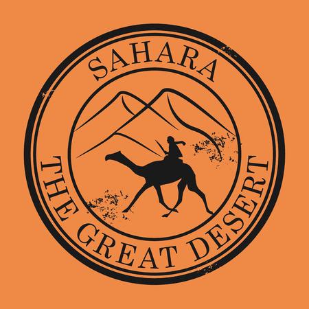 desierto del sahara: Grunge sello de goma con el camello y el texto Sahara Desert Vectores