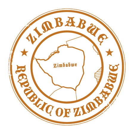 Grunge rubber stamp with the name and map of Zimbabwe Vector