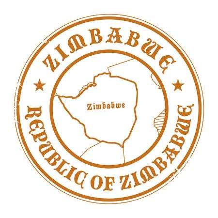 zimbabwe: Grunge sello de goma con el nombre y el mapa de Zimbabwe Vectores
