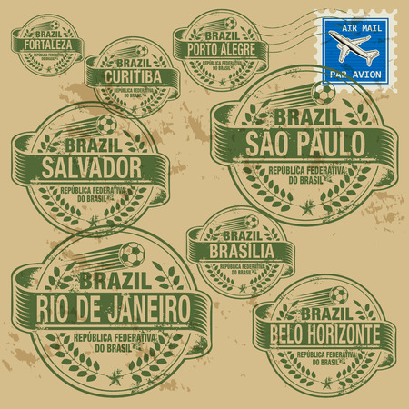 Grunge rubber stamp set with names of Brazil cities Vector