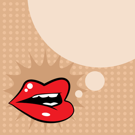 Open red lips Vector