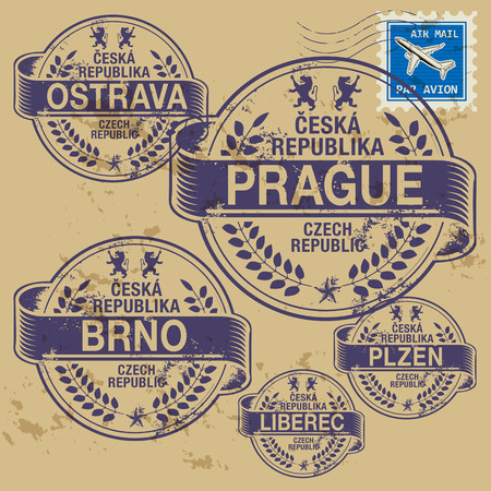 identifier: Grunge rubber stamp set with names of Czech Republic cities Illustration