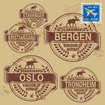 european map: Grunge rubber stamp set with names of Norway cities Illustration