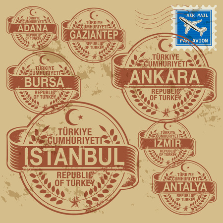 Grunge rubber stamp set with names of Turkey cities Vector