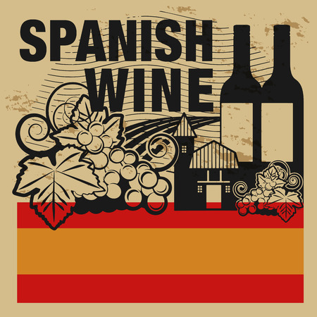 Grunge rubber stamp with words Spanish Wine Vector