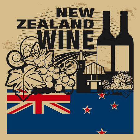 bandera de nueva zelanda: Grunge sello de goma con las palabras Nueva Zelanda Vino