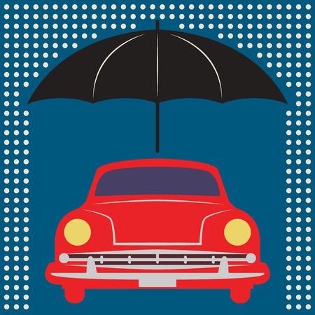 Car under umbrella Stock Vector - 24804644