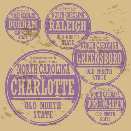 Grunge rubber stamp set with names of North Carolina cities Vector