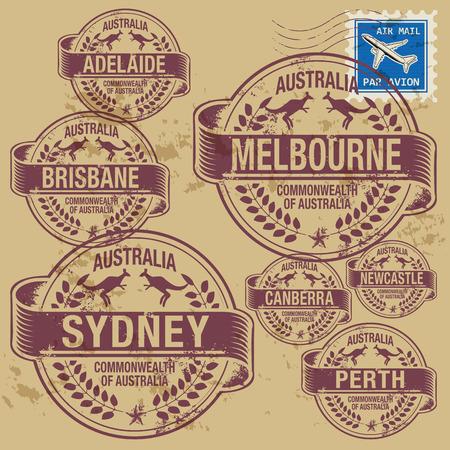 オーストラリアの都市の名前を持つ設定グランジ ゴム印  イラスト・ベクター素材