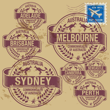 Grunge rubber stamp set with names of Australia cities Vector