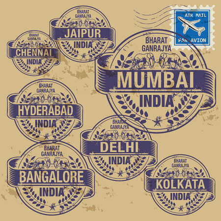 Grunge rubber stamp set with names of India cities Vector