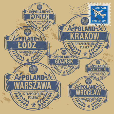 wroclaw: Grunge rubber stamp set with names of Poland cities