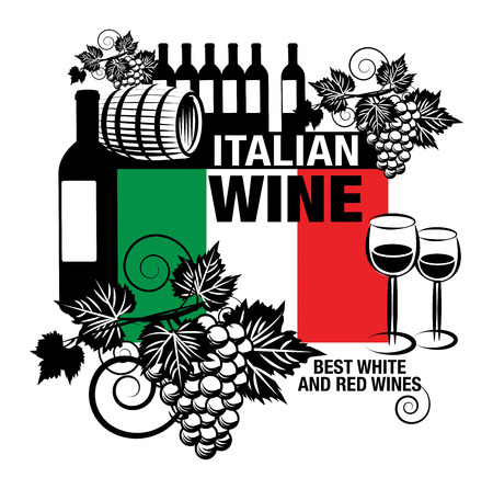 Stamp or label with words Italian Wine