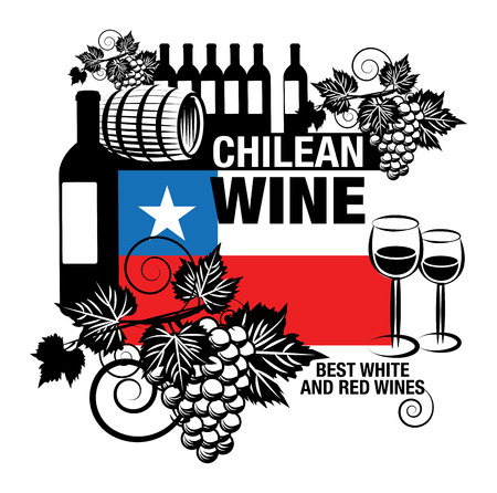 chile flag: Stamp or label with words Chilean Wine Illustration