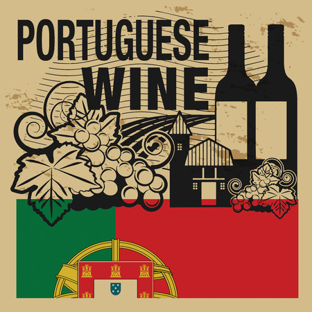 Grunge rubber stamp or label with words Portuguese Wine Иллюстрация