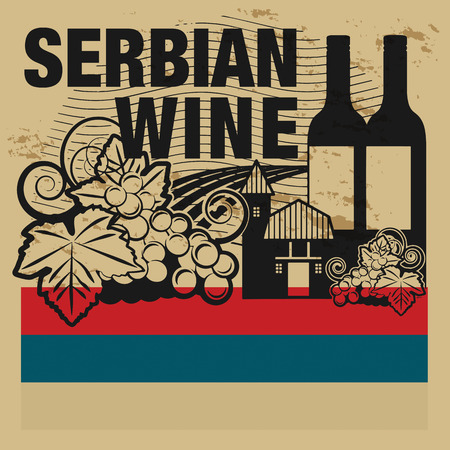 serbia flag: Grunge rubber stamp or label with words Serbian Wine