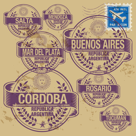 buenos: Grunge rubber stamp set with names of Argentina cities Illustration