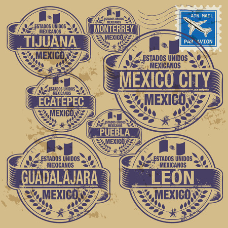 mexico city: Grunge rubber stamp set with names of Mexico cities Illustration
