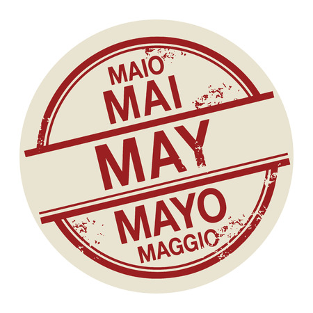 Grunge rubber stamp with the word May in different languages written inside the stamp Vector