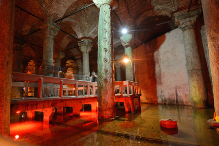 ISTANBUL - AUGUST 8  Underground Basilica Cistern, August 8, 2013 in Istanbul, Turkey  It is 143m long and 65m wide underground water container, the one of most popular tourist attraction