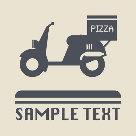 Scooter met pizzadoos pictogram of teken Vector Illustratie