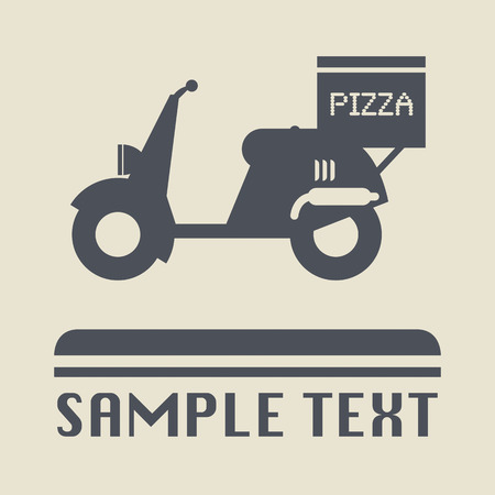 Scooter with pizza box icon or sign