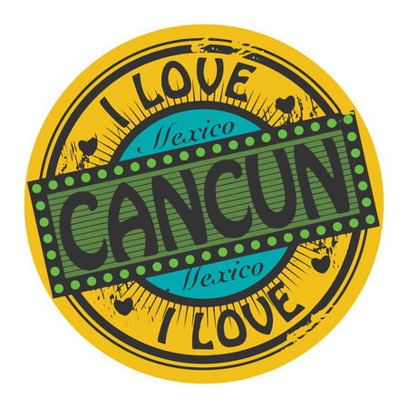 Grunge color stamp with text I Love Cancun inside Vector