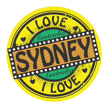 Grunge color stamp with text I Love Sydney inside Vector