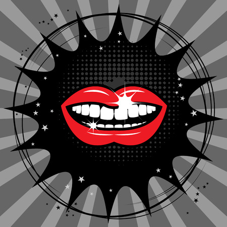 Open red lips abstract background Vector