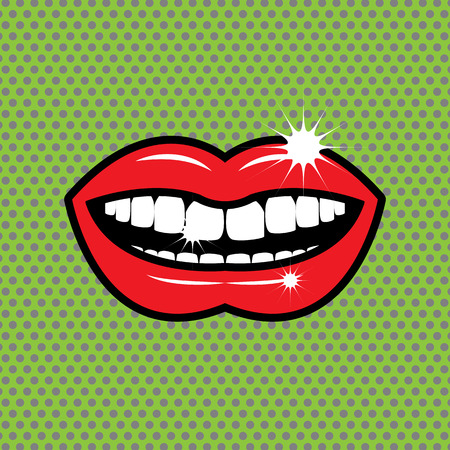 Open red lips with teeth Vector