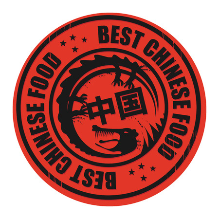 takeout: Grunge rubber stamp, with the text Best Chinese Food written inside