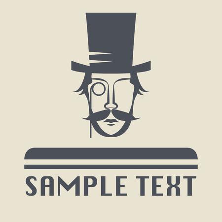 snobby: Cappello e baffi icona o segno